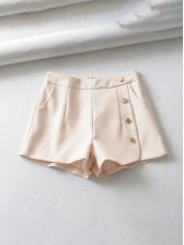 OL Style Button Decor High Waist Short Pants