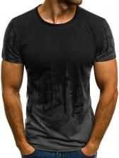 Fashion Crew Neck Contrast Color T-Shirt
