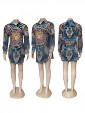 Retro Printed Turndown Collar Long Sleeve Dresses