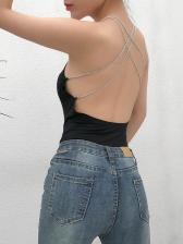 Cross Belt Backless Chain Bodysuit