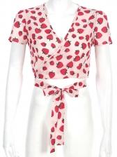 Deep V Neck Strawberry Printed Tie-Wrap Tee