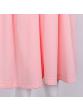 Crew Neck Pleated Solid Short Sleeve Dress