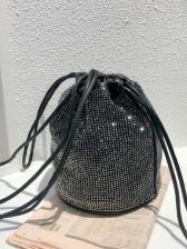 Fresh Shiny Rhinestone Drawstring Buckle Bag