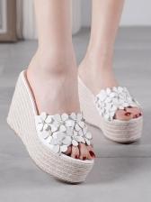 Korean Stereo Flower Weaving Wedge Slippers