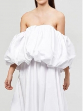 Boutique Solid Loose Strapless Blouse For Women
