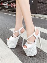 Sexy Metal Buckle Catwalk High Heeled Sandals