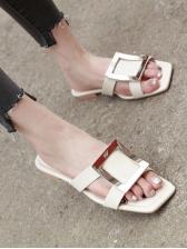 Trendy Square Toe Metal Decor Slippers