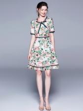 Elegant Tie Neck Flower Printed Short Sleeve Dress