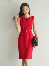 OL Style Minimalist Slim Red Sleeveless Dress