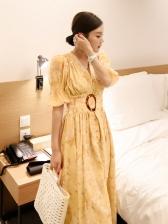 Trendy Single Breasted Smocked Waist Midi Dress
