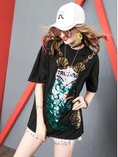 Chic Sequined Mermaid Medium Length T-shirt