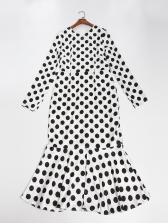 Ladies Polka Dots Flounce Hem Boutique Dresses
