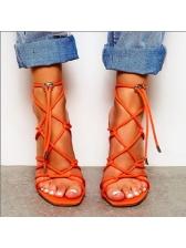 Rome Cross Belt Square Toe Stiletto Women Sandals