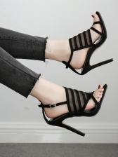 Gauze Hollow-Out Patchwork Stiletto Sandals
