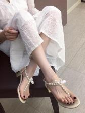 Fashion Easy Matching Pearl Decor Ladies Sandals