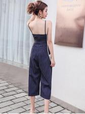 Off Shoulder Self Tie Striped Wide Leg Jumpsuit