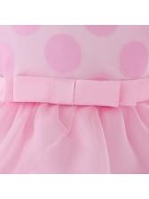 Polka Dots Gauze Stitching Girls Fluffy Dresses