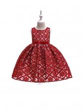 Crew Neck Star Design Bow Girls Sleeveless Dress