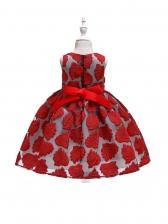 Leaf Embroidered Binding Bow Girl Sleeveless Dress