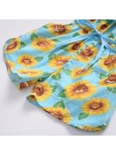 Sunflower Bow Ruffles Sleeve Girls Romper