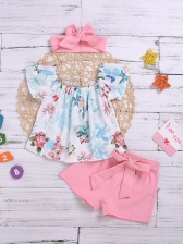 Contrast Color Boat Neck Printed Girl 3 Pieces Sets