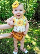 Sunflower Tassels Halter Tank With Dots Shorts