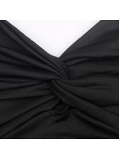 Deep V Neck Twist Knot Fitted Spaghetti Strap Dress