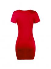 Solid Deep U Neck Short Sleeve Bodycon Dress