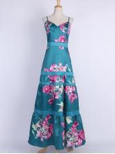 Spring Flower Large Hem Floor Length Maxi Dress
