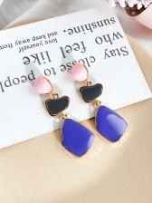 Contrast Color Geometric Shape Asymmetric Earrings