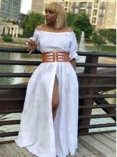 Sexy Boat Neck Solid Split Hem Maxi Dress