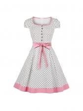 Square Neck Polka Dots Audrey Hepburn Dress