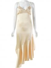 Fashion V Neck Fishtail Hem Evening Dress
