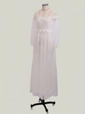 Embroidered Sheer Stitching Lantern Sleeve Wedding Dress
