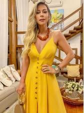Deep V Neck Big Swing Yellow Strap Maxi Dress