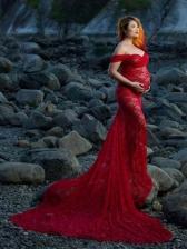 Lace Fishtail Hem Floor Wedding Dress For Maternity