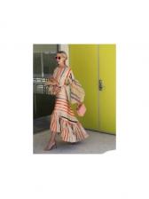 Multicolor Striped Ruffles Hem Lantern Sleeve Maxi Dress