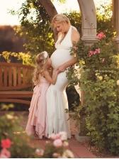 Deep V Neck Lace Fishtail Hem Maternity Wedding Dress