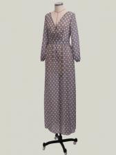 Polka Dots Deep V Neck Split Long Sleeve Maxi Dress