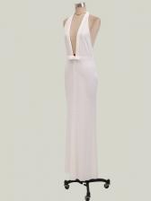 Plunging V Neck Backless Halter White Evening Dress