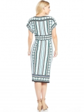 Bateau Neck Fitted Printed Short Sleeve Dress