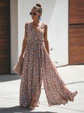 Vacation Floral Tie-Wrap Sleeveless Maxi Dress