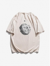 Summer Solid Crew Neck Printed Loose T-shirt