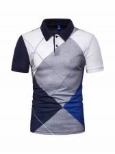 Contrast Color Turndown Collar Short Sleeve Shirt