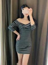 Off Shoulder Striped Three Quarter Sleeve Dresses