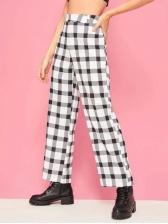 Punk Style Plaid Wide Leg Pants