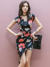 Summer V Neck Irregular Hem Floral Dress
