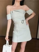 Chic Boat Neck Zipper Denim Short Sleeve Dress