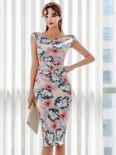 Crew Neck Sleeveless Floral Bodycon Dress