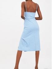 Plaid Backless Split Hem Spaghetti Strap Dresses